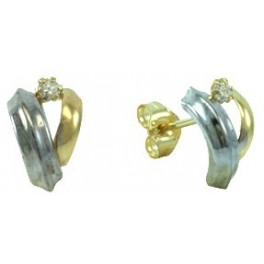 10MM TWO COLOR PUSH-BACK EARRINGS ZIRCONIA 2,5MM